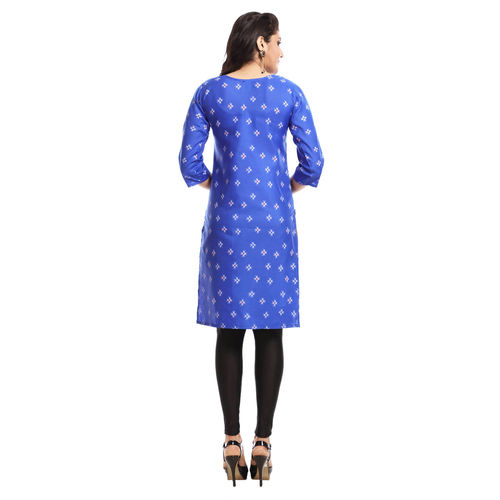 Grishti Royal Blue Polyester Printed 3/4th Sleeved Kurti for Women
