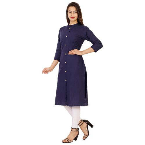 Dipsha Blue Plain Cotton Stitched Kurti
