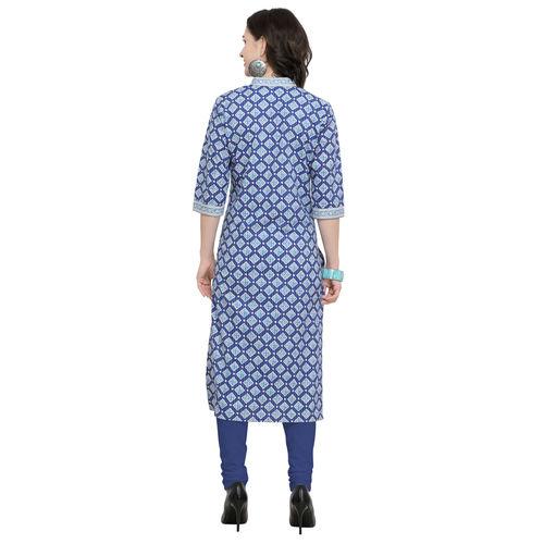 Swaron Blue Printed Cotton Stitched Kurta