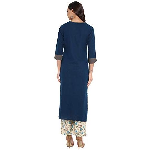 Janasya Blue Cotton Regular Fit  Kurta With Pant