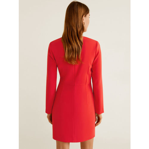 MANGO Women Red Solid Wrap Dress