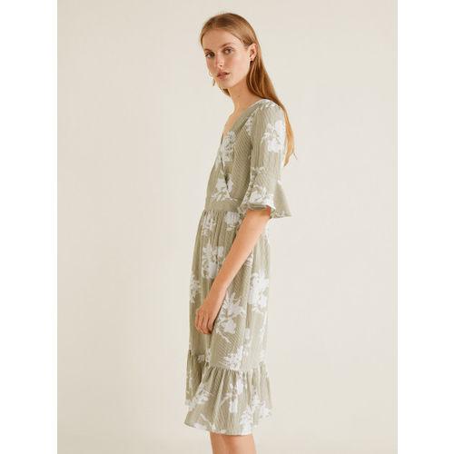 MANGO Women Green & White Printed Wrap Dress