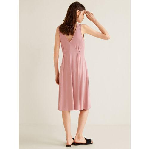 MANGO Women Dusty Pink Solid A-Line Dress