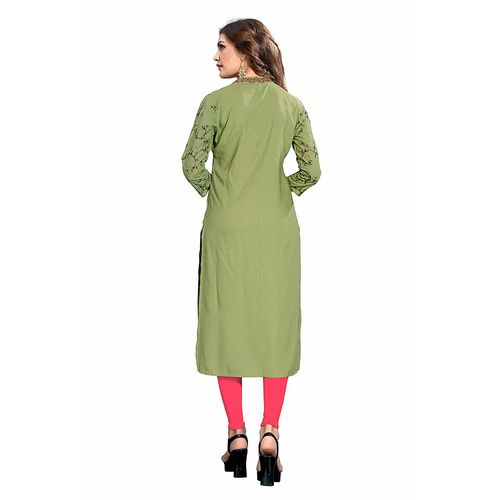 Vaikunth Fabrics Kurti In Light Green Color And Rayon Fabric For Womens VF-KU-293