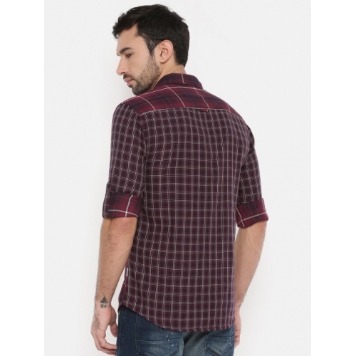 Jack & Jones Men Red & Navy Slim Fit Checked Casual Shirt