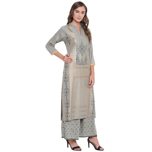 Rayon Printed Long Straight Fit Kurta And Flared Printed Palazzo Set