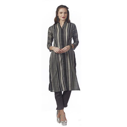 Anora Women's Grey Cotton Stripes Printed Casual Kurti