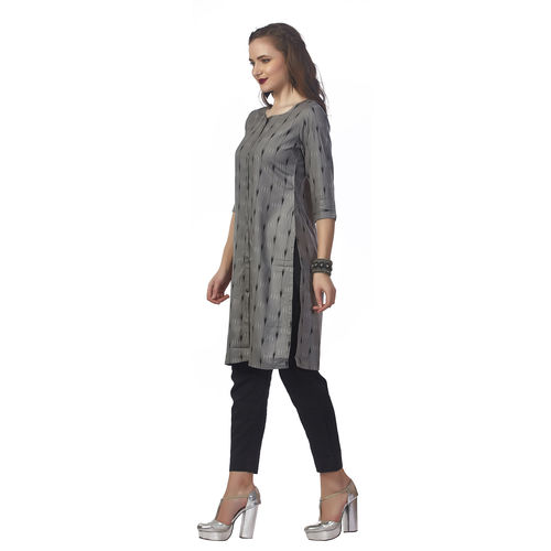 Anora Women's Grey Rayon Printed Side Slit 3/4th Sleeved Kurti