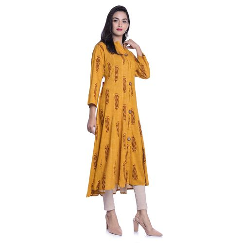 Anarkali Style Full Ghera Printed Rayon Kurti For Girls Woman