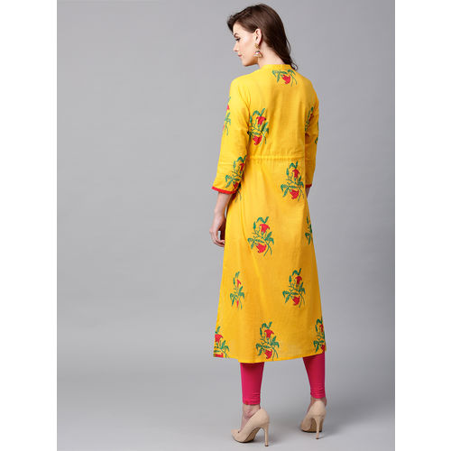 Women Yellow Green Printed A-Line Kurta