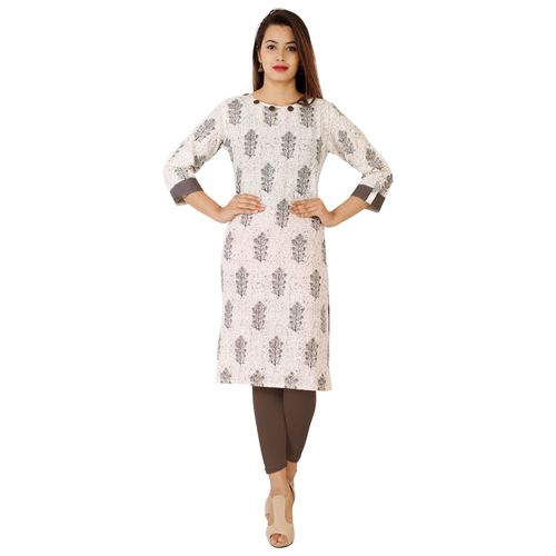 Dipsha White Printed Cotton Stitched Kurti