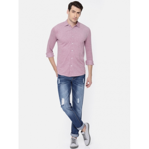 Jack & Jones Men Pink Slim Fit Solid Casual Shirt
