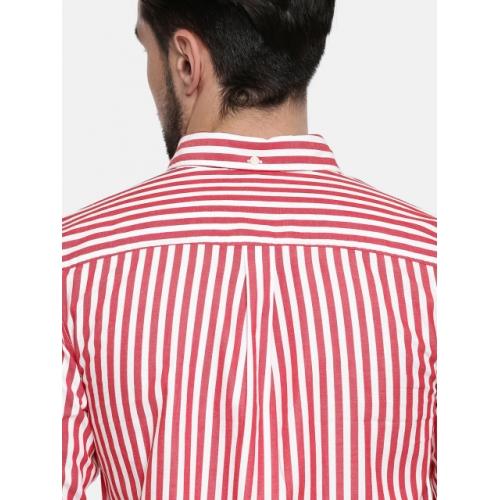 Jack & Jones Men Red & White Slim Fit Striped Casual Shirt
