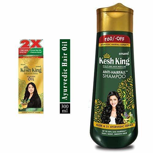 Kesh King Kesh King Ayurvedic Scalp and Hair Oil, 300 ml and Kesh King Scalp And Hair Medicine Anti Hairfall Shampoo, 340ml