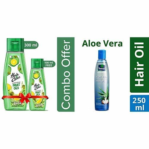 Hair & Care Fruit Oils Green, 300ml with Free 100ml and Parachute Advansed Aloe Vera Enriched Coconut Hair Oil, 250ml