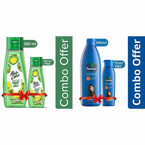 Hair & Care Fruit Oils Green, 300ml with Free 100ml and Parachute Advansed Coconut Hair Oil, 300ml (Free 75ml)