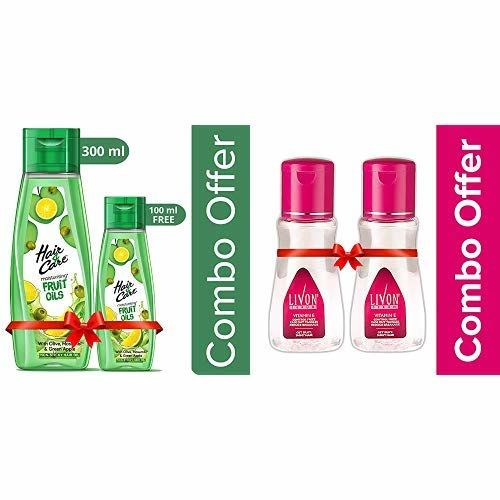 Hair & Care Fruit Oils Green, 300ml with Free 100ml and Livon Serum, 100ml (Pack of 2)