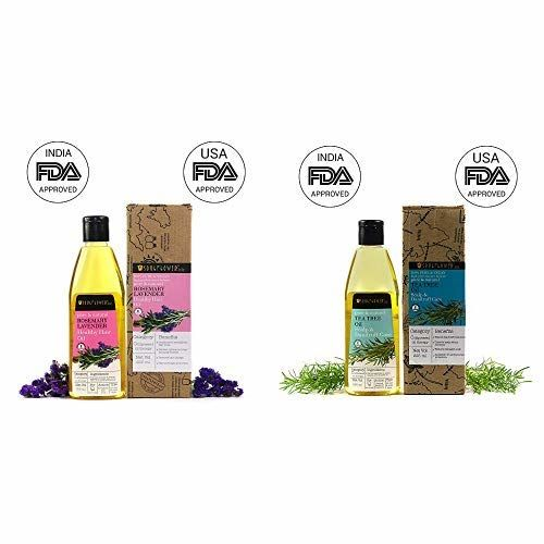 Soulflower Pure and Natural Rosemary Lavender Healthy Hair Oil 100% Pure and Vegan and Soulflower Tea Tree Oil Scalp and Anti Dandruff Oil with Castor Oil Tea