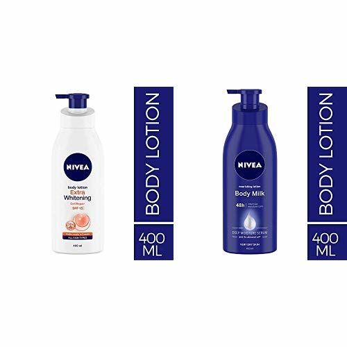 NIVEA Body Lotion, Extra Whitening Cell Repair (SPF 15), 400ml and Nivea Nourishing Lotion Body Milk with Deep Moisture Serum and 2x Almond Oil for Very Dry Skin, 400m