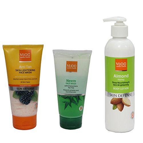 Vlcc combo Anti Tan Face Wash (150 ml), Neem Face Wash (150 ml) & Amond Honey Body Lotion (350ml) ( Pack of 3)