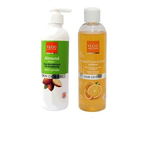 VLCC COMBO PACK OF ALMOND BODY LOTION (350ML) & DANDRUFF CARE CONTROL SHAMPOO (350ML)