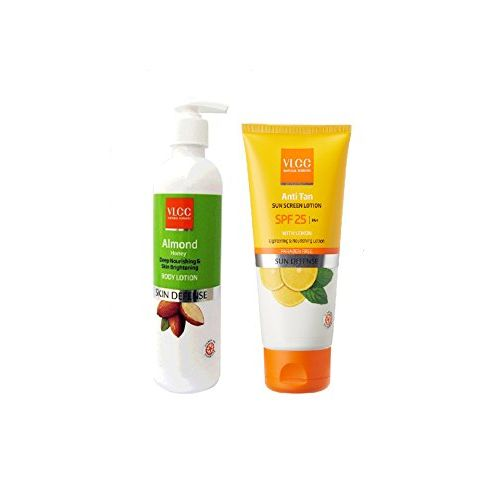 VLCC COMBO PACK OF ALMOND BODY LOTION (350 ML) & SUN SCREEN CREAM ANTI TAN SUN BLOCK - SPF 25 PA+ WITH LEMON (150 ML)