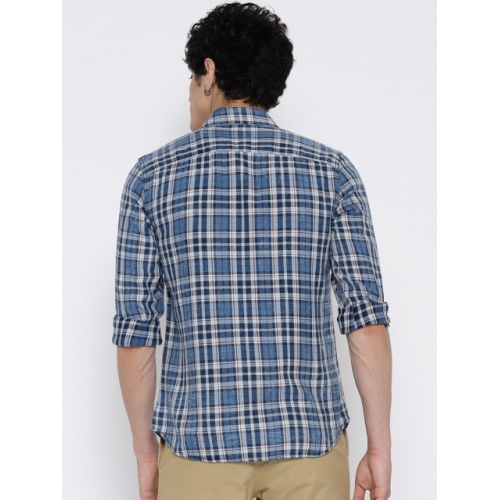 Jack & Jones Men Blue & White Slim Fit Checked Casual Shirt