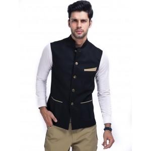 Mr Button Solid Black Ethnic Jacket