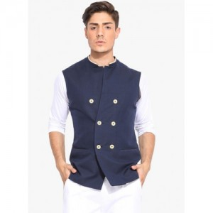 Mr Button Navy Blue Solid Double Breasted Nehru Jacket