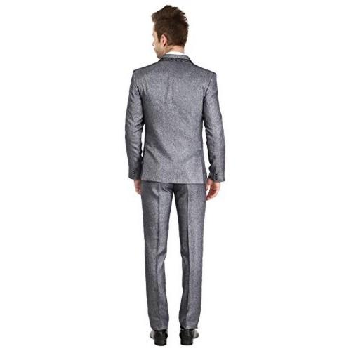 Platinum Studio Men's Grey Soldi Polyester Suit