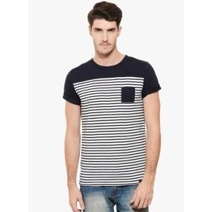 Rigo Navy Blue Striped Round Neck T-Shirt