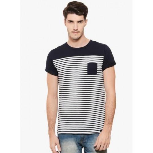 3ef032900 Buy Rigo Navy Blue Striped Round Neck T-Shirt online