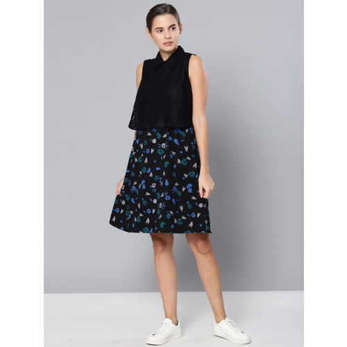 Chemistry Women Black Printed A-Line Dress