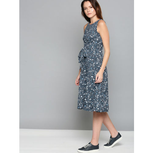 Chemistry Women Black & Grey Printed A-Line Dress