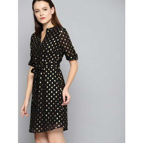 Chemistry Women Black Printed Fit and Flare Dress