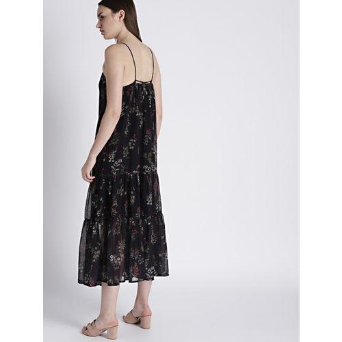 Chemistry Women Black Printed A-Line Midi Dress