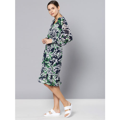 Chemistry Women Blue & White Printed Fit and Flare Dress