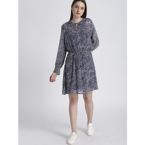Chemistry Women Blue & Off-White Printed Fit & Flare Dress