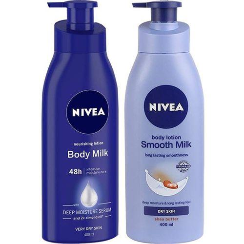 Nivea Nourishing Lotion Body Milk Deep Moisture Serum & Smooth Milk Body Lotion (2 x 400ml)(800 ml)