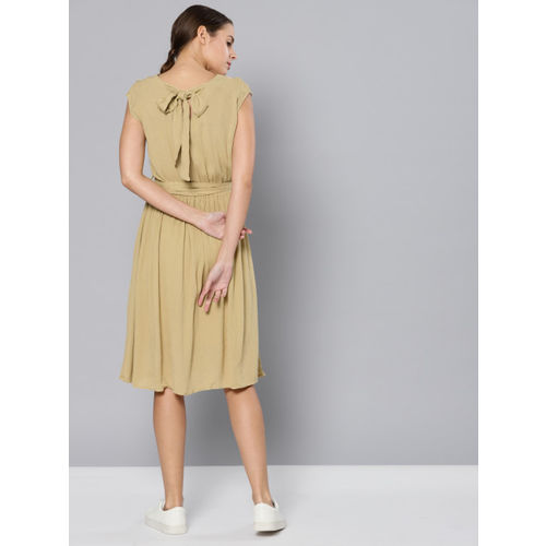 Chemistry Women Green Solid A-Line Dress