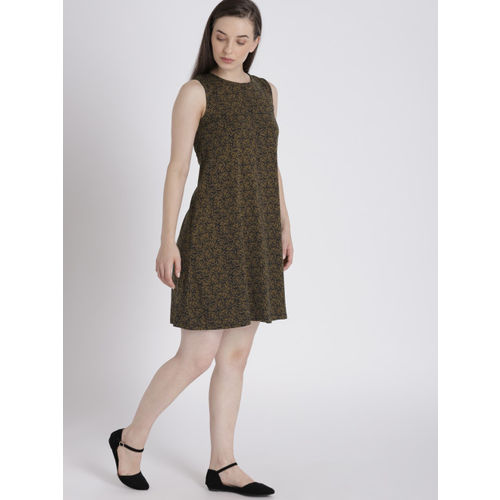 Chemistry Women Olive Green & Black Printed A-Line Dress