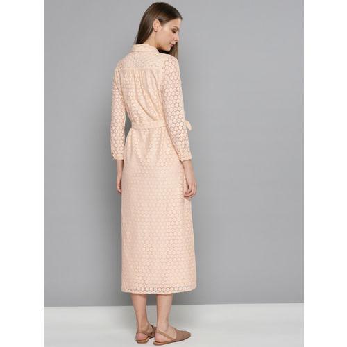 Chemistry Women Pink Self-Design Lace Shirt Dress
