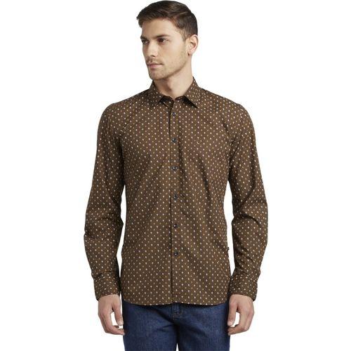Parx Men Printed Casual Brown Shirt
