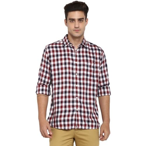 Parx Men Checkered Casual Maroon, Black Shirt