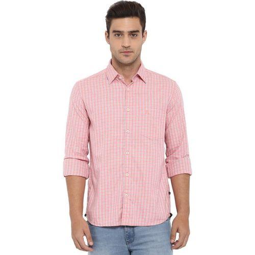 Parx Men Checkered Casual Pink Shirt