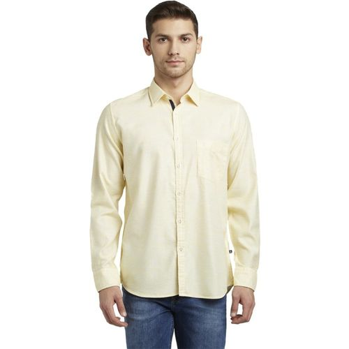Parx Men Solid Casual Yellow Shirt