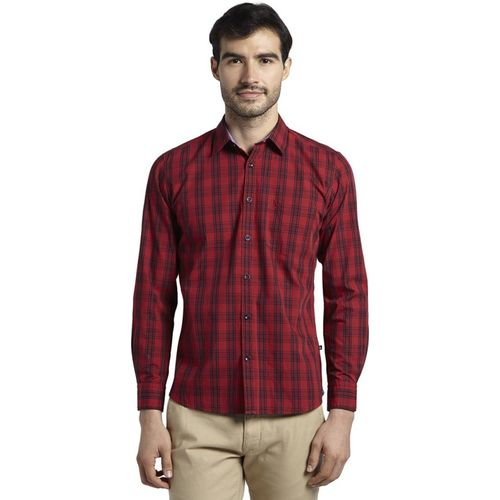 Parx Men Checkered Casual Red Shirt