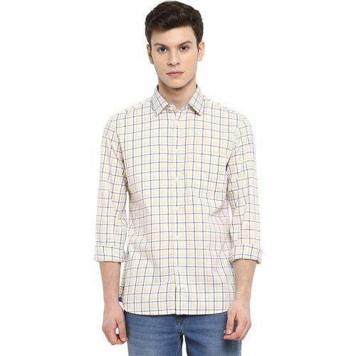Parx Men Checkered Casual White Shirt