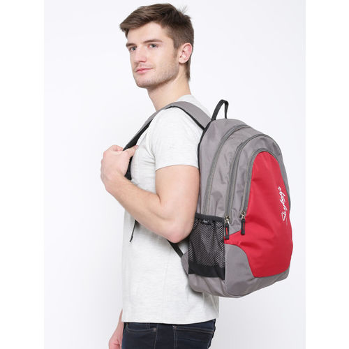 Skybags Red & Grey Polyester Unisex Backpack