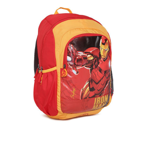 Skybags Red Printed Polyester Unisex Backpack